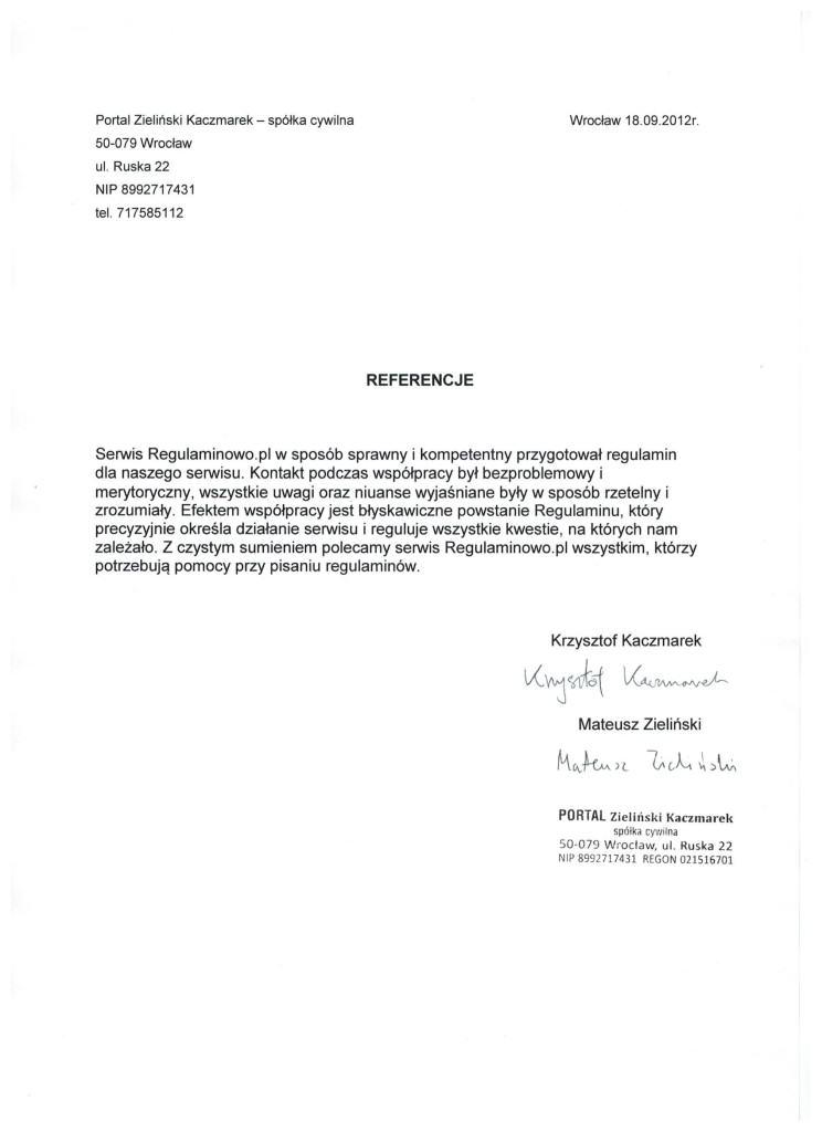 df10ad81011f9b Opinie klientów serwisu Regulaminowo.pl - Regulamin sklepu ...